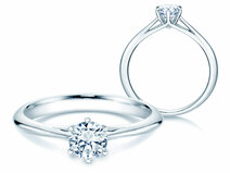 Bague solitaire Heaven 6 en 14 ct or blanc avec diamant 0.50 ct G/SI