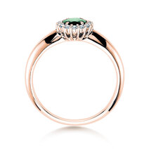 Bague Windsor avec émeraude  en 14 ct or rose avec diamants 0.12 ct