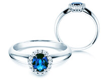 Bague Windsor avec saphir en 18 ct or blanc avec diamants 0.12 ct